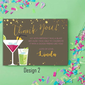 Aspire Designs Personalised Adult Sparkling Cocktail Birthday Party Thank You Cards 10 / Yes / Design 2
