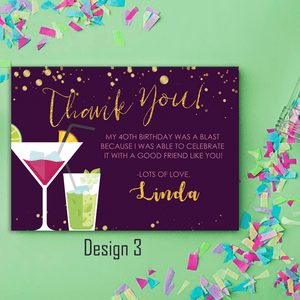 Aspire Designs Personalised Adult Sparkling Cocktail Birthday Party Thank You Cards 10 / Yes / Design 3