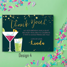 Load image into Gallery viewer, Aspire Designs Personalised Adult Sparkling Cocktail Birthday Party Thank You Cards 10 / Yes / Design 4