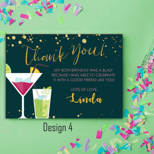 Aspire Designs Personalised Adult Sparkling Cocktail Birthday Party Thank You Cards 10 / Yes / Design 4