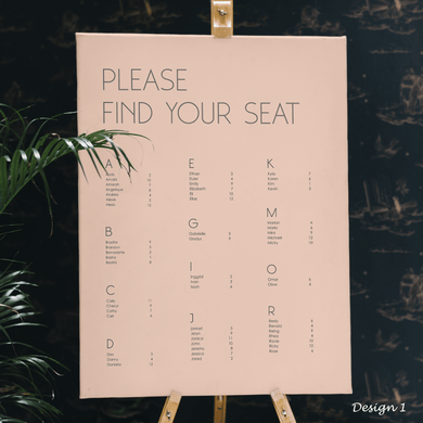 Aspire Designs Personalised Aplphabetical Order Names Wedding Table Seating Plan Board Chart | A1 A2 A3