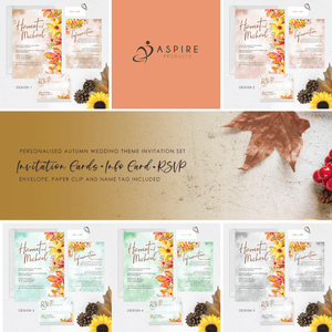 Aspire Designs Personalised Autumn Theme Wedding Invitation Set | Invite, RSVP, Info & Name Tag