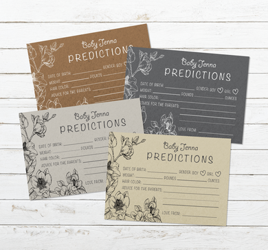 Aspire Designs Personalised Baby Boy or Girl Shower Prediction Cards | Neutral Colors 10 / Yes / Design 1