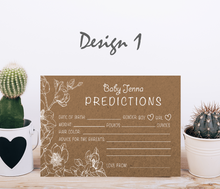Load image into Gallery viewer, Aspire Designs Personalised Baby Boy or Girl Shower Prediction Cards | Neutral Colors 10 / Yes / Design 1