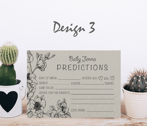 Aspire Designs Personalised Baby Boy or Girl Shower Prediction Cards | Neutral Colors 10 / Yes / Design 3