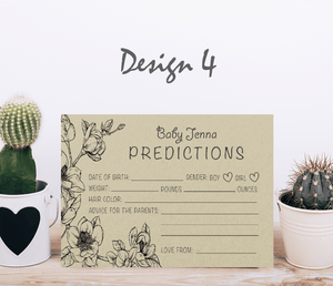Aspire Designs Personalised Baby Boy or Girl Shower Prediction Cards | Neutral Colors 10 / Yes / Design 4
