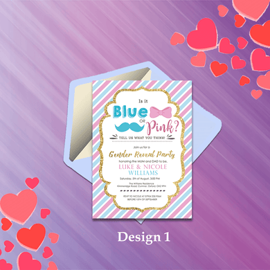 Aspire Designs Personalised Baby Gender Reveal Boy or Girl Party Invitations 10 / Yes / Design 1