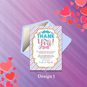 Aspire Designs Personalised Baby Gender Reveal Boy or Girl Party Thank You Cards 10 / Yes / Design 1
