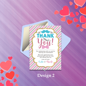 Aspire Designs Personalised Baby Gender Reveal Boy or Girl Party Thank You Cards 10 / Yes / Design 2