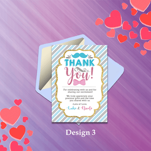 Aspire Designs Personalised Baby Gender Reveal Boy or Girl Party Thank You Cards 10 / Yes / Design 3