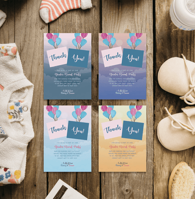 Personalised Baby Gender Reveal Party Thank You Cards | Boy or Girl | Sky Balloon Theme
