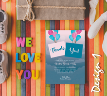Load image into Gallery viewer, Personalised Baby Gender Reveal Party Thank You Cards | Boy or Girl | Sky Balloon Theme