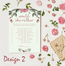 Load image into Gallery viewer, Aspire Designs Personalised Baby Shower Would She Rather Game Card | Boy or Girl 10 / Yes / Design 2
