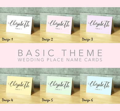 Aspire Designs Personalised Basic Theme Table Place Name Cards Printed for Weddings, Conferences, Parties Design 1 / 1