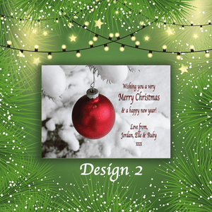 Aspire Designs Personalised Bauble Merry Christmas Cards Xmas Postcards 10 / Yes