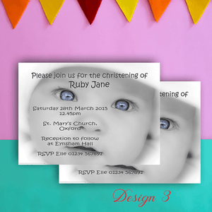 Aspire Designs Personalised Beautiful Photo Christening | Baptism Invitations 10 / Yes
