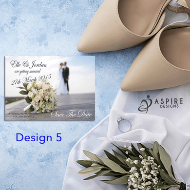 Aspire Designs Personalised Beautiful Save The Date Cards / Wedding Invitations 10 / Yes