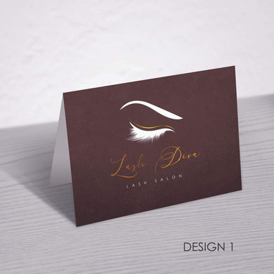 Aspire Designs Personalised Beauty Business Eyelash After Care Cards Dark Colour A6 Folded Card