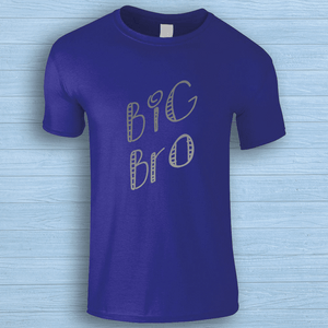 Aspire Designs Personalised Big Bro/Sis T-Shirt, Gift Idea Tee Top for Kids - Boys or Girls Cobalt Blue