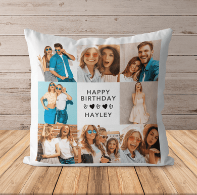 Personalised Birthday Photo Cushion | Pillow Case & Insert | 8 Photos Gift Idea