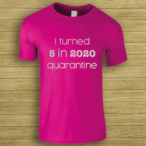 Aspire Designs Personalised Birthday Quarantine Children T-Shirt | Tee Top for Kids Heliconia