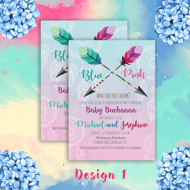 Aspire Designs Personalised Boho Gender Reveal Party Announcement Invitations 10 / Yes / Design 1