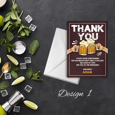 Aspire Designs Personalised Booze Before I Dos Stag Do Bachelor Party Thank You Cards 10 / Yes / Design 1