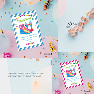 Aspire Designs Personalised Bounce House Castle Birthday Thank You Cards