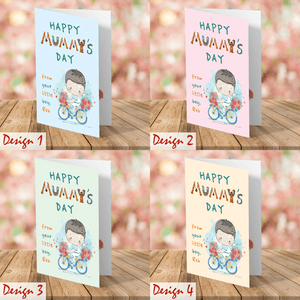 Aspire Designs Personalised Boy and Flower Theme | Mother's Day | Greeting Card