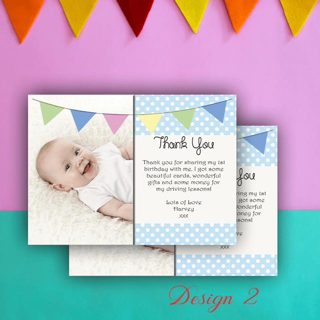Aspire Designs Personalised Boys Photo Christening | Baptism Thank You Cards 10 / Yes