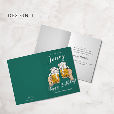 Aspire Designs Personalised Brother-In-Law Happy Birthday Greeting Card | Beer Birthday Greeting Card