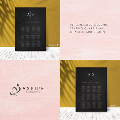 Aspire Designs Personalised Chalk Board Design Wedding Seating Plan Planner Table Plans Chart Layout