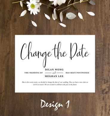 Aspire Designs Personalised Change The Date Wedding Cancellation Announcement Cards with Envelopes 10 / Yes / Design 1