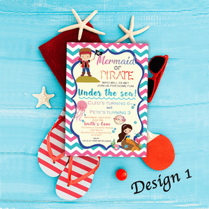Aspire Designs Personalised Children's Mermaid & Pirate Themed Birthday Party Invitations 10 / Yes / Design 1