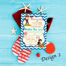 Load image into Gallery viewer, Aspire Designs Personalised Children's Mermaid & Pirate Themed Birthday Party Invitations 10 / Yes / Design 2