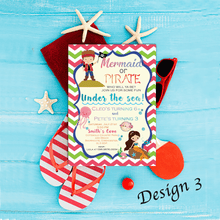 Load image into Gallery viewer, Aspire Designs Personalised Children's Mermaid & Pirate Themed Birthday Party Invitations 10 / Yes / Design 3