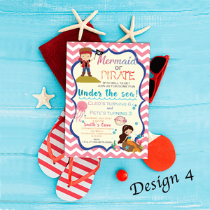 Aspire Designs Personalised Children's Mermaid & Pirate Themed Birthday Party Invitations 10 / Yes / Design 4