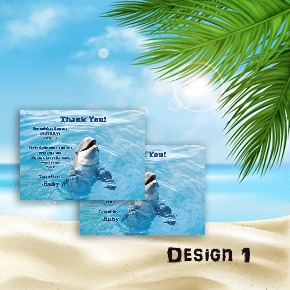 Aspire Designs Personalised Childrens Dolphin Birthday Party Thank You Cards 10 / Yes / Design 1