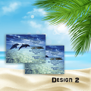 Aspire Designs Personalised Childrens Dolphin Birthday Party Thank You Cards 10 / Yes / Design 2