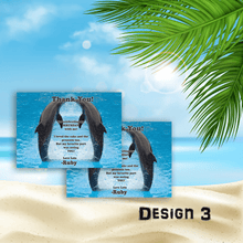 Load image into Gallery viewer, Aspire Designs Personalised Childrens Dolphin Birthday Party Thank You Cards 10 / Yes / Design 3