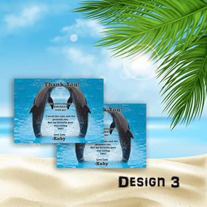 Aspire Designs Personalised Childrens Dolphin Birthday Party Thank You Cards 10 / Yes / Design 3