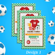 Load image into Gallery viewer, Aspire Designs Personalised Childrens Football Theme Birthday Party Invitations 10 / Yes / Design 1