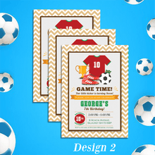 Load image into Gallery viewer, Aspire Designs Personalised Childrens Football Theme Birthday Party Invitations 10 / Yes / Design 2