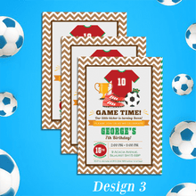 Load image into Gallery viewer, Aspire Designs Personalised Childrens Football Theme Birthday Party Invitations 10 / Yes / Design 3