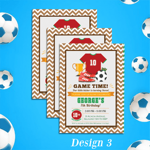 Aspire Designs Personalised Childrens Football Theme Birthday Party Invitations 10 / Yes / Design 3