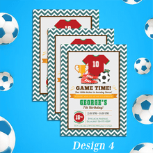 Load image into Gallery viewer, Aspire Designs Personalised Childrens Football Theme Birthday Party Invitations 10 / Yes / Design 4