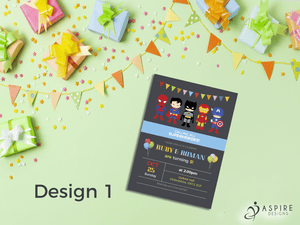 Aspire Designs Personalised Childrens Superhero Birthday Party Theme Invitations 10 / Yes / Design 1