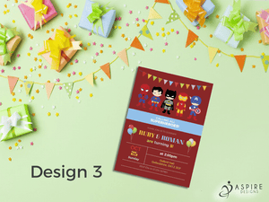 Personalised Childrens Superhero Birthday Party Theme Invitations