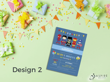 Load image into Gallery viewer, Aspire Designs Personalised Childrens Superhero Birthday Party Theme Invitations 10 / Yes / Design 3