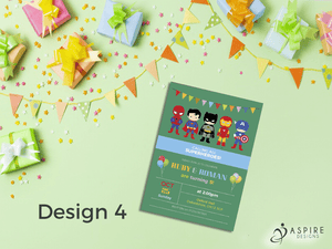 Aspire Designs Personalised Childrens Superhero Birthday Party Theme Invitations 10 / Yes / Design 4